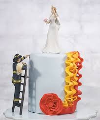 To The Rescue Fireman Groom Figurine Wedding Collectibles