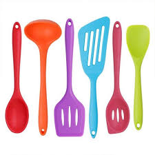 6 piece silicone cooking set 2 spoons 2 turners 1 spoonula spatula 1 ladle heat resistant kitchen utensils multicolor