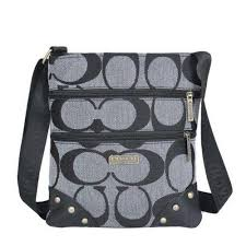 Original Coach Stud In Signature Small Grey Crossbody Bags JI2385