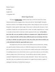mother tongue erica hansen pd mother tongue pg  5 pages reading reaction essay 1 marlese ferguson