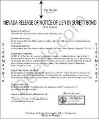 surety bond form nevada release of prospective lien by surety bond forms deeds com