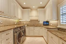 4 tags Traditional Laundry Room with Undermount Sink, Hanover Flat Panel  Cabinet Door, flush light,