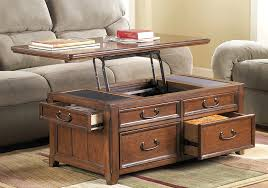 coffee table with lift top drawer