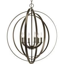 progress lighting equinox 6 light antique bronze orb pendant