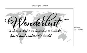 wanderlust travel quote world map wall art decal thumbnail 1  on wall art quotes with wanderlust travel quote world map wall art decal moonwallstickers