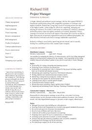 project manager cv example project manager resume summary by richard hill
