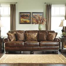Leather Sofa Design Living Room Signature Design By Ashley Hutcherson Leather Sofa Reviews Wayfair