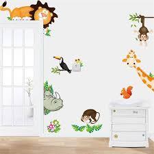 animals zoo jungle cartoon pvc wall paper board stickers decals kids nursery baby room decoration diy