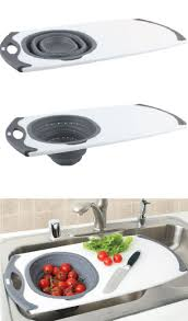 Sink With Cutting Board Over The Sink Strainer Cutting Board