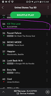 Spotify Top Charts 190409 Blackpink Has Entered The Us Top 50 Spotify Chart At