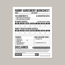 Agreement In Pdf Beauteous Nanny Agreement Worksheet Printable Pdf Sheet Etsy
