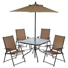 patio table and 6 chairs:  piece outdoor folding patio set with table  chairs umbrella and built