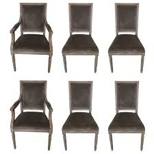 set of six restoration hardware washed oak and velvet dining chairs for