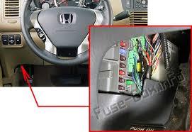 honda pilot 2003 2008 < fuse box diagram driver s side the location of the fuses in the passenger compartment honda pilot 2003 2008