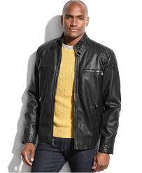 lyst calvin klein faux leather moto jacket in black for men