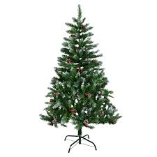 4ft 5ft 6ft 7ft Green Artificial Christmas Xmas Tree Snow Berries Pine Cones