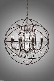 rustic iron crystal orb chandelier a foucault s globe style