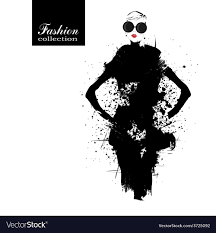 Fashion Girl In Sketch Style Vector Image On Vectorstock