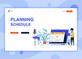 Design Schedule Template Modern Flat Web Page Design Template Concept Of Planning