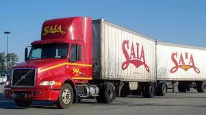 saia truck with twin trailers saia trucking
