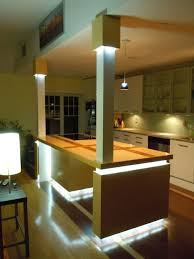 custom kitchen lighting. build a kitchen island with led accent lighting and potspans hanger this was my custom that i allowed creative freedom