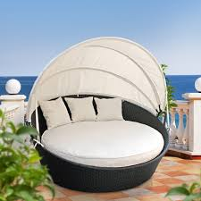 Bedroom:Unqiue Round Outdoor Bed Swing With Rattan Canopy Decorating Ideas  Spacious Outdoor White Bed