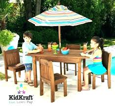 kids outdoor espresso table and stacking