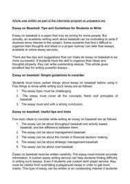 calameo essay on baseball tips and guidelines for students to write essay on baseball tips and guidelines for students to write