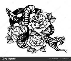 тату с роуз и змея традиционная черная точка стиль чернила