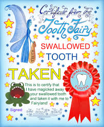 free tooth fairy certificate swallowed tooth taken no name