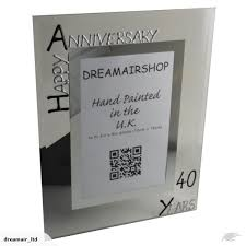 personalised 40th wedding anniversary gift photo frame portrait blk sil trade me