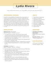 Best Professional Cv Format Beauty Therapist Cv Examples Myperfectcv