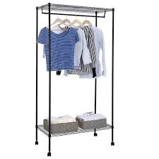 Rolling Coat Rack With Shelf Unique Garment Rack Wheels Rolling Clothes Closet Hanger Single Rods