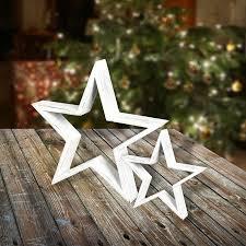 Deko Weihnachtsstern 20x19x5cm Wischoptik Weiß