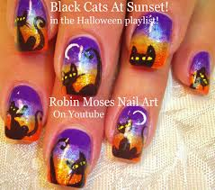Spooky DIY Halloween Black Cat at sunset Nail art Design Tutorial ...