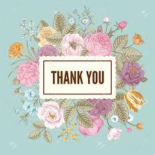 Summer Thank You Vintage Floral Vector Elegant Card With Colorful Summer Garden