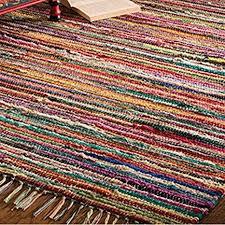 fair trade rag rug hand loom indian 100 recycled cotton multi colour 180 x