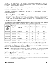 Blood Pressure Cuff Size Chart Positioning The Blood Pressure Cuff Welch Allyn Vital