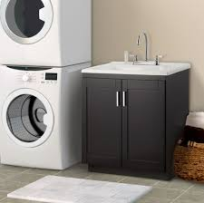 lavish cabinet in black with white laundry room sink also stainless steal faucet