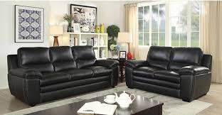 2 pc living room set. 2pc living room furniture set black top grain leather match sofa 2 pc
