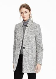 banana republic collarless boucle coat