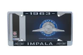 1963 Chevy Impala Chrome License Plate Frame with Blue and White ...