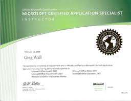 Microsoft Office Training Certificate Wall To Wall Computer Services Computer Training Courses