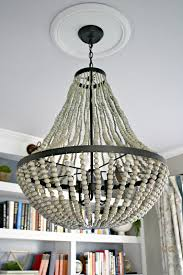 wood bead chandelier for lighting interior decoration ideas wood bead chandelier with white ceiling and