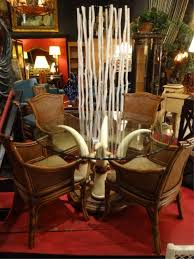 lot 13a elephant tusk dining table with 4 chairs in rattan and wood table