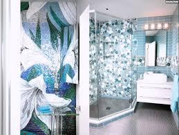Mosaik Fliesen Badezimmer Kreise Hellblau Blumen Modern Dusche ...
