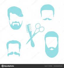 男性のヘアスタイルひげと口ひげのかわいいベクトル イラスト