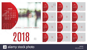 Vector Of Calendar 2018 Year 12 Month Calendar With Modern