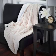 lavish home beige plush striped embossed faux fur mink throw