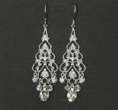 rhinestone chandelier earrings chandelier bridal earrings wedding jewelry wedding earrings silver filigree rhinestones emma